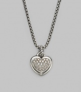 From the Hearts Collection. A sweet heart with a center of pavé diamonds hangs from a sterling silver cable bale and box chain. Diamonds, 0.23 tcw Sterling silver Chain length, about 17 Pendant length, about ¾ including bale Lobster clasp Made in USA