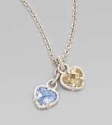 Two sweet faceted hearts, one of blue quartz, the other of canary crystal, are set in textured sterling silver and linked together on a sterling chain. Blue quartz and canary crystal Sterling silver Chain length, about 17 Pendant width, about ½ each Lobster clasp Imported Please note: Stone color may vary.