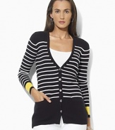 A timeless button-front cardigan crafted in ribbed cotton with a chic striped pattern and contrasting cuffs.