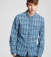At once timeless and trendy, this classic fit sport shirt stands out with a vivid check pattern and smaller collar.