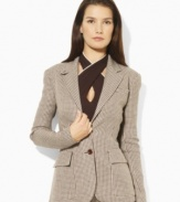 Rendered in a sleek two-button silhouette, Lauren by Ralph Lauren's jacket is crafted in chic linen houndstooth for a polished look.