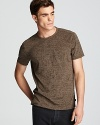 Subtle pickstitching runs across the seams on this hip mottled tee, a modern take on the classic pocket tee from all-star designer John Varvatos Star USA.