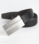 30 mm leather belt with solid buckle with Hugo Boss logo.