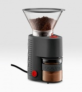 This essential, totally electric part of the coffee-making ritual is completely adjustable - twisting the upper bean container determines how finely ground the beans will be. Most coffee grinders use plastic receptacle containers, but plastic causes the powder gets statically charged and easily spills.