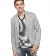 In a relaxed knit style, this blazer from American Rag is a stylish way to streamline your look.