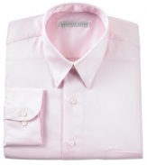 Maintain your crisp, professional look all day long in this handsome, wrinkle-free shirt. With a subtle sateen finish and classic fit, it features a point collar, chest pocket, button cuff and French placket. Round hem.