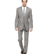 Make your power move with this classic-fit gray sharkskin suit from Lauren by Ralph Lauren.