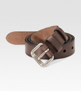 Smooth leather crafted in Italy with a steel roller logo buckle. About 1 wide Made in Italy