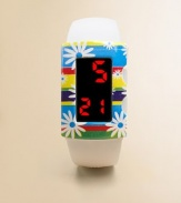This delightful concept offers a smart, solid color digital watch paired with a splashy bezel cover that snaps on to change the look in an instant.Interchangeable flower coverBold pushbutton LED display with time, date and minutesLightweightWater-resistantSilicone strapPlastic case and coverSmall size: Children under 12Medium size: Children 12 and upImported