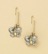The Cable Kids Collection. Sterling silver and 18K gold butterfly earrings. ¾H X ¼L Made in USA