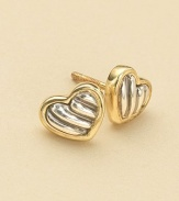 From the Cable Kids Collection. Lovely heart studs of sterling silver and 18k gold, with signature cable detailing. Sterling silver and 18k yellow gold Length, about ¼ Post back Made in USA