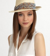 A beaded, sequined band elevates this chic, casual style.90% hemp/10% cottonRuched, sequined bandBrim, about 2¼Hand washMade in USA of imported fabric