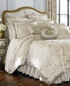 Allover opulence is achieved with this Alexandria comforter set from J Queen, featuring a silver landscape adorned with floral and diamond stitching and polyester trim.