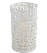 Featuring coated steel stamped in a frilly floral pattern, the Brocade candle lantern from Design Ideas gives your home a warm, romantic glow.