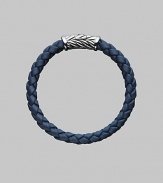 From the Weave Collection. A bold look crafted from braided rubber is accented with a silver chevron clasp. 8mm wide About 8½ long Rubber Imported