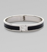 Innovative bracelet with logo detail is designed in fine leather and metal.Metal/leatherDiameter, about 8Made in Italy