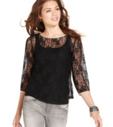 Refresh your look with delicate and girlish style in Lily White's three-quarter sleeve lace top!