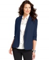 NY Collection's blazer combines sleek and casual-cool details, mixing ruched sleeves and open-front style.