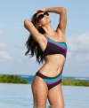 Flaunt one of the season's hottest trends with Becca's one-shoulder monokini, featuring a colorblocked design.