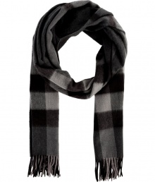 Give your look that cool modern edge with Burberry Londons dark charcoal checked scarf, detailed in brushed cashmere for luxuriously cozy results - Fringing at both ends - Wear inside over bright knit sweaters, or outdoors over sleek leather jackets