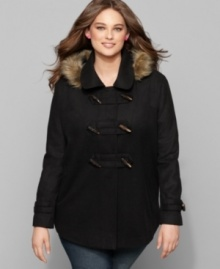 Get a luxe look with Dollhouse's toggle front plus size coat, featuring a faux fur hood. (Clearance)