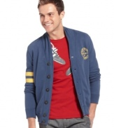 Collegiate cool. Get a dose of Ivy style in this comfy cardigan from Armani Jeans.
