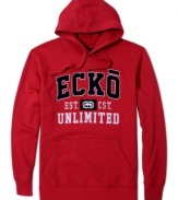 Every guy's go-to layer: A hooded sweatshirt with a great graphic and handwarmer pockets, like this logo fleece hoodie from Ecko Unltd.