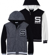 A fleece hoodie with the looks of a varsity letter jacket: Sean John zip front hooded sweatshirt with S and the Roman numerals for 1969, the year designer Sean Combs was born.