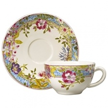 Millefleurs was inspired by flowers in a European garden as well as antique tableware. Its delicate renderings of pansies, roses, and thistles are blended with a vintage border in a contemporary color palette. Sophisticated, yet fresh and youthful. Dishwasher and microwave safe (for reheating only).