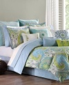 The Sardinia comforter set creates a luminous look in hot, modern blues and greens. A reverse diamond pattern in soft blue offers an understated, alternative look.