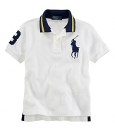 Essential cotton mesh polo is finished with an embroidered Big Pony and a twill 3 for preppy in-the-game style.
