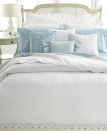 Spring has sprung! Lauren by Ralph Lauren's Spring Hill duvet cover boasts rich seersucker stripes and eyelet embroidery in a pristine white hue for a timeless look rooted in traditional elegance. Button closure.