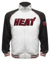 The Most Valuable Fan wears this baseball style running jacket featuring the Miami Heat by Majestic.