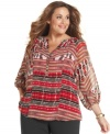Electrify your neutral bottoms with Calvin Klein's three-quarter-sleeve plus size top, featuring a lively print.