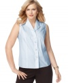 Getting ready just got easier with Jones New York Collection's sleeveless plus size shirt, which does not require ironing-- dress it up with trousers or down with denim!