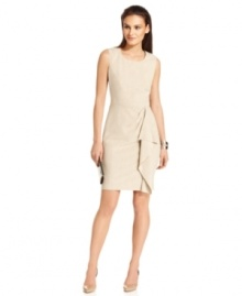 Calvin Klein's petite sheath is simplistic chic, featuring a classic, clean-cut fit with an extra feminine detail--a flyaway ruffle at the front skirt.