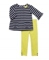 Stripes step up your little fashionista's style in this shirt and leggings set from Carters. Front pockets and bow and button details make this easy outfit a go-to gem.