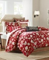 Boasting a rich red ground embellished with an artistic floral and leaf design in coordinating earthy hues, this Woodland comforter set from Harbor House lends a traditional look with a touch of contemporary charm to the bedroom.