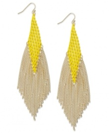 Brighten your look. INC International Concepts' chic drop earrings dust your shoulders with a multi-chain design in bright citron and gold. Set in 14k gold-plated mixed metal. Approximate drop: 5 inches.