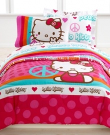 Peace. Love. Hello Kitty. Featuring 60's-inspired type and cute heart, peace sign, flower and Hello Kitty graphics, this Peace Kitty sheet set is totally groovy.
