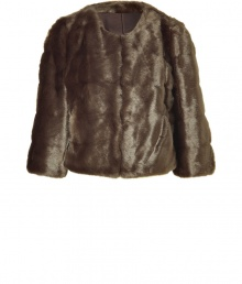 Tap into one of the seasons hottest tactile trends in animal-friendly style with DKNYs taupe faux fur jacket  - Shorter, slightly boxier cut - Open style, with long sleeves and round neck - Polished and ultra-chic, perfect for parties and evenings out - Pair with a cocktail dress and pumps, or with leather pants and ankle booties