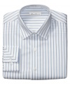 Create long, lean lines in your work wardrobe with this classic striped shirt from Kenneth Cole New York.