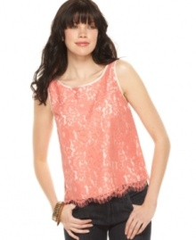 A bright lace overlay adds an irreverent yet girly edge to this Kensie top -- perfect for a spring look!