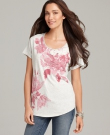 Style&co.'s floral print tee gets even more flirty with swirls of fabric rosettes and sparkling sequin embellishments! (Clearance)