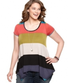 ING's plus size colorblocked top can make any outfit into a bright, bold fashion statement!